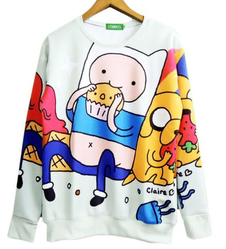 Harajuku Women/men Adventure Time Sweatshirt Funny Cartoon Biscuit 3D Hoodies Pullover Autumn Spring Clothing Plus Size S-XXXXXXL B26