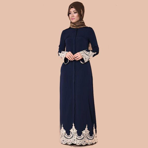 Muslim Abaya Lace Dress Cardigan Jubah Ramadan Middle East Thobe Worship Service Islamic Prayer Clothing Long Robe Gowns Kimono