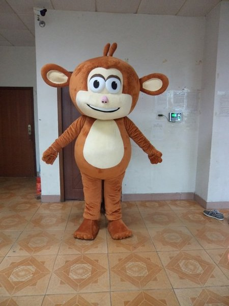 Brown monkey Mascot Costumes Animated theme simian Animal Cospaly Cartoon mascot Character Halloween Carnival party Costume