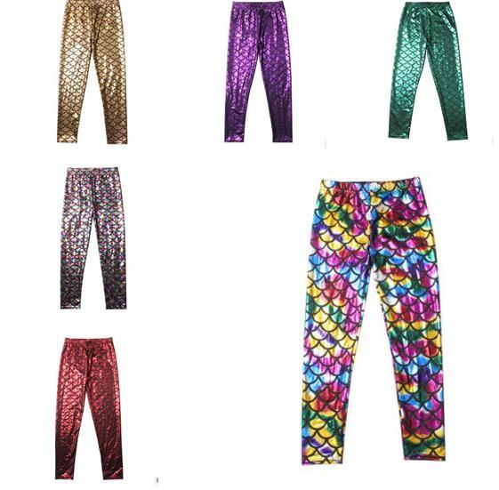 Kids Clothes Mermaid Cute Pants Colorful Digital Printing Boys Girls Leggings Kids Pants Children Clothing 12 Colors Free Shipping