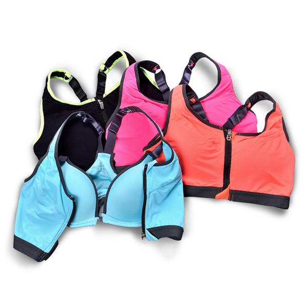 Shockproof Sport Bra Women Yoga Fitness Underwear Front Zipper Contrast Color Brassiere Sport Breathable Push up Professional