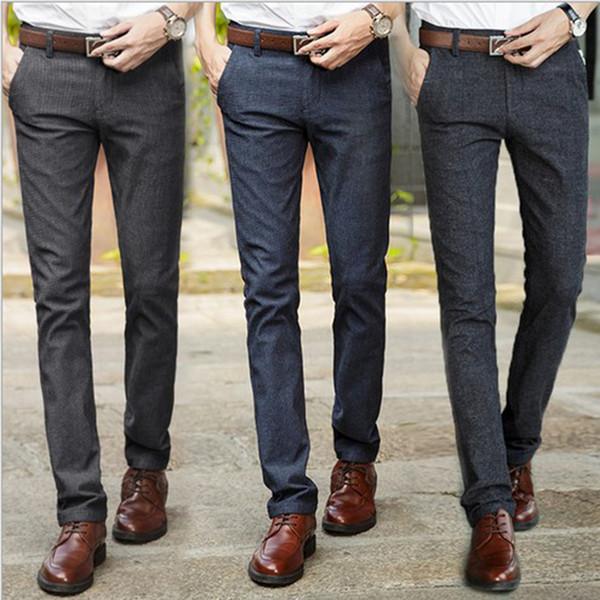 Compre Pantalones Para Hombre Pantalones De Vestir Casuales Traje Formal Masculino Pantalones Otoño Hombres Algodón Pantalones Ropa Lápiz A 4381 Del