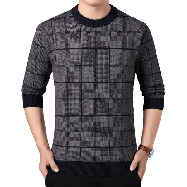 Men Elegance Pullover Sweaters Plaid Smart Casual Knitwear Wine Red Coffee Navy Blue Man Slim Fit Pullover Sweater Pull Homme XL