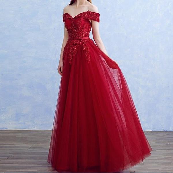 Compre Vino Rojo De Encaje Largo Vestidos De Noche Fiesta De Tul Con Cuentas Hermosas Mujeres De Baile Formal Vestidos De Noche Vestidos En Venta
