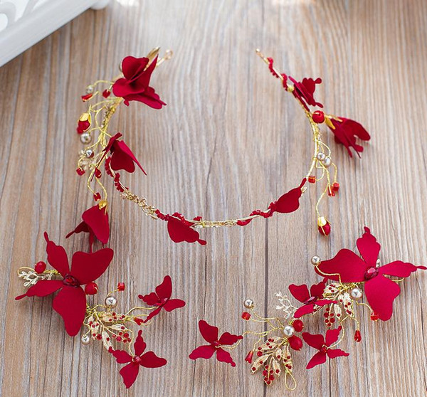 Bride red headwear 2018 new hairpin hairpin ornament crown dress jewelry
