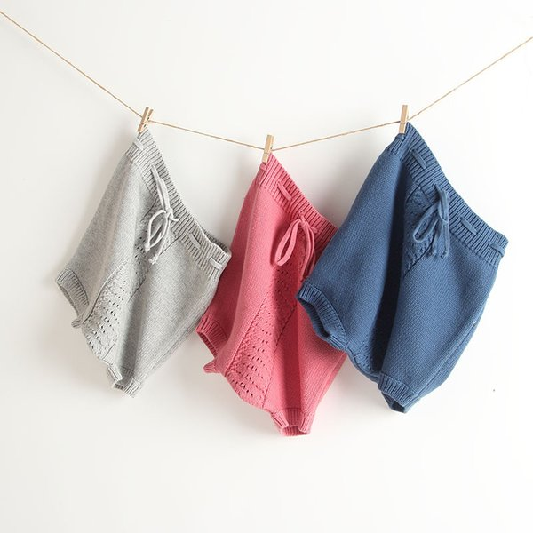 Baby clothing pants spring autumn age 1 year old baby girl shorts knitted high waist bag baby PP pants bread pants.