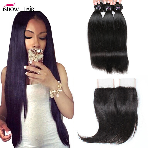 """top popular 28"""" Curly Body Wave Virgin Hair Extensions Deep Loose Wave 3 4pcs With Lace Closure Straight Water Wave Human Hair Bundles With Closure 2019"""