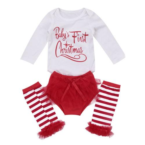 3pcs Set Infant Toddler Baby Boy Girl Clothes Set Tops Romper+Long Socks Christmas Outfits Clothes