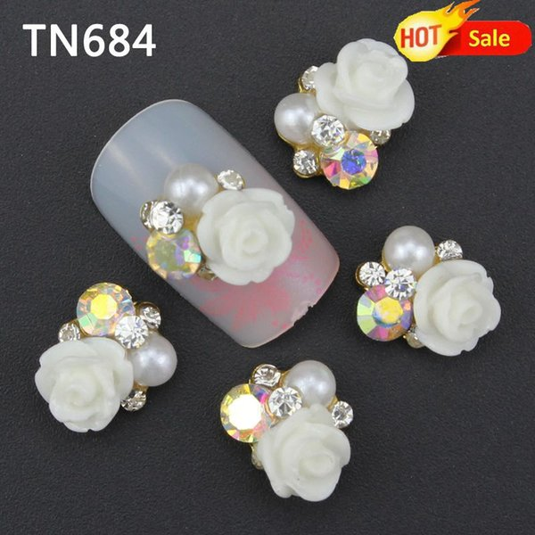 10 unid Blanco Aleación Glitter 3d Nail Art Rose Decoraciones con Diamantes de Imitación, Encantos de Aleación de Uñas, Joyería en Uñas Salon Suministros TN684
