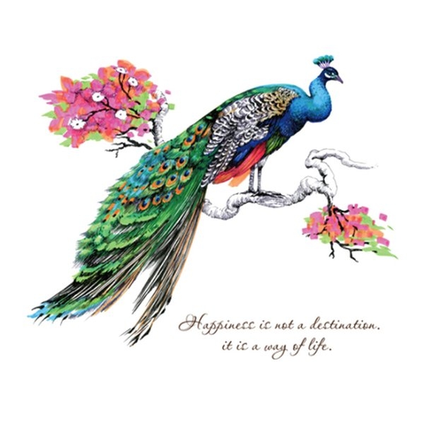 Personalized Creative Dress Peacock Wall Stickers Art Home DIY Decoration PVC Poster for Living Kids Room Bedroom