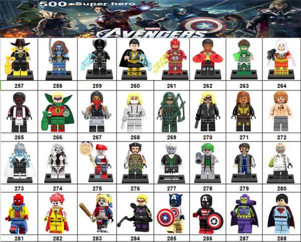Wholsale Super hero Mini Figures Marvel Avengers DC Justice League Wonder woman Deadpool Spiderman Cat Woman building blocks kids gifts