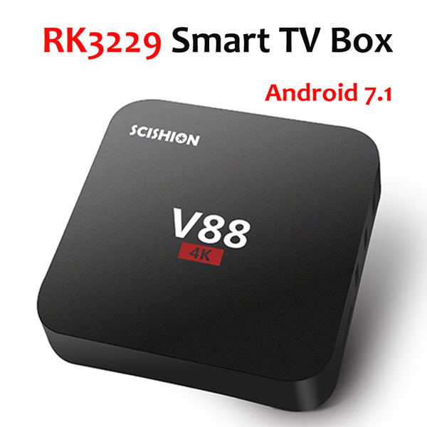 V88 Android 7.1 TV Box Rockchip RK3229 4K 1G 8G Quad Core WiFi 3D HDMI Smart Set-top Boxes Cheap Media Player