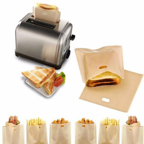 17*19cm Resistant Sandwich Storage Bag Non Stick Toast Bread Bags Grill Microwave Heating Bag Reusable Toaster Bags KKA6036
