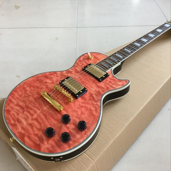 Compre Guitarra Eléctrica Con Dibujos En Rojo Custom Tono Alto Panel De Caoba Diapasón De Palisandro Tablilla De Caoba A 29046 Del Jtapifa