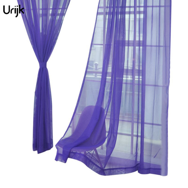Urijk 1PC Voile Sheer Curtain for Living Room Party Bnaquet 2018 Purple Color Tulle Curtains Wedding Transparent Home Decoration