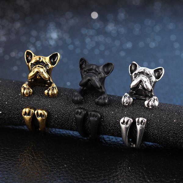 3 colori francese Bulldog Ring Anel Brass Knuckle Dog Ring animale sveglio per gli uomini donne regalo gioielli di moda DHL libero D949L