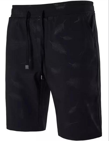 Men Short Pants Summer Feather Printing Knee Length Capri Pants Casual Bottom Clothing Plus Size M-5XL