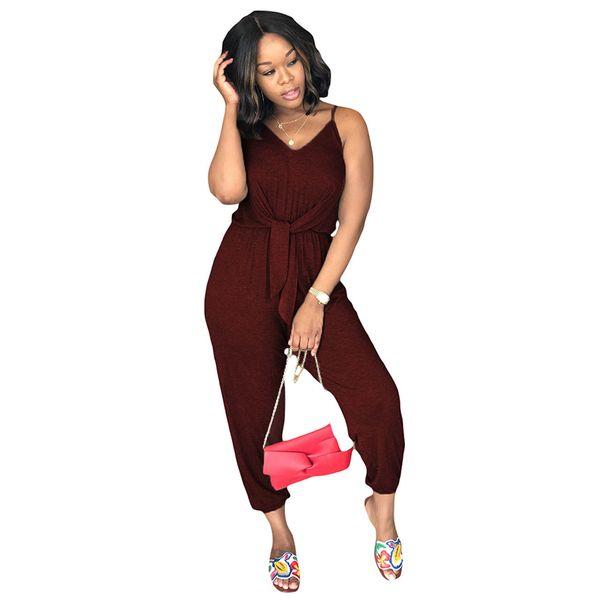 Summer Loose Plus Size Women Casual Jumpsuit 2018 Sleeveless V-neck Sling Jumpsuit Big Large Size Sportwear Clothes