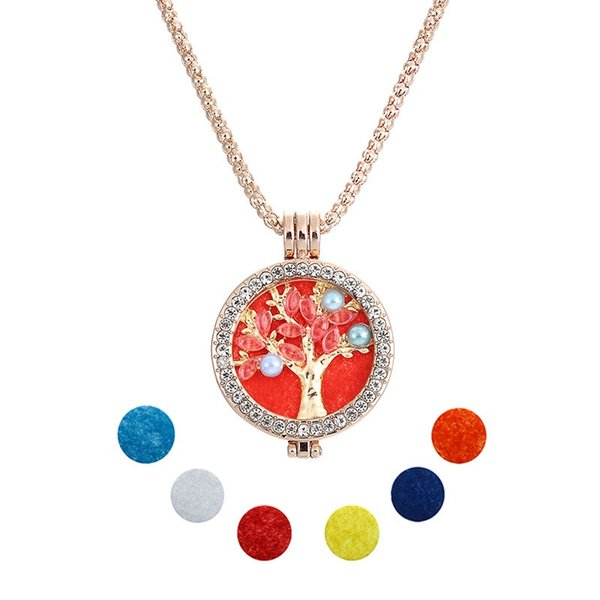 Mi Coin Necklace 32mm Tree Of Life Coins Disc Fit 35mm Coin Holder Set Aceite Esencial Collares Difusores 6pcs Pads Mixto 6 Estilo