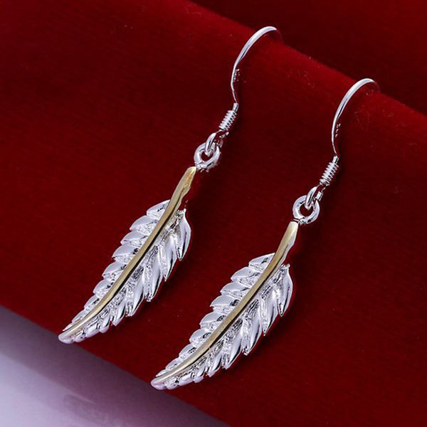 Hot sale Fine 925 Sterling Silver Earring,XMAS Trendy New Style 925 Silver Feather earrings For women Fashion Jewelry Link Italy Lovely E038