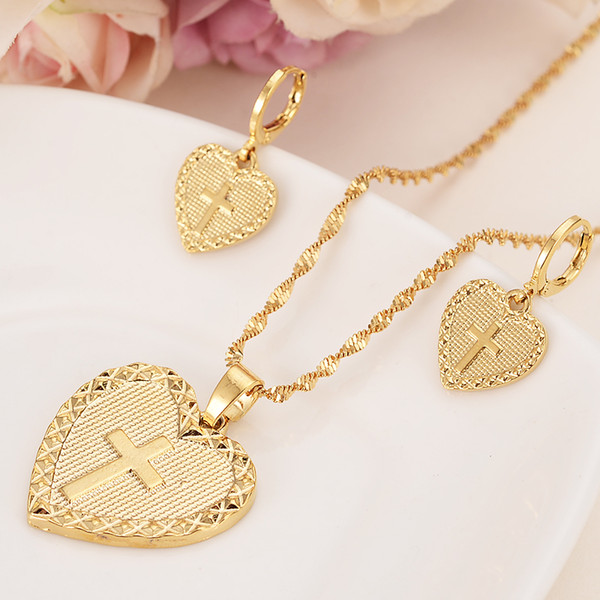 gold Necklace Earring Set Women Party Gift heart cross Jewelry Sets daily wear mother gift DIY charms girls lover Fine Jewelry