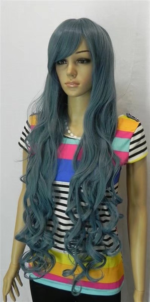 free shipping Womens Long Straight light Light blue color Wig Heat Resistan blue white light Color curls wavy hair Wig No bangs+Wig Cap