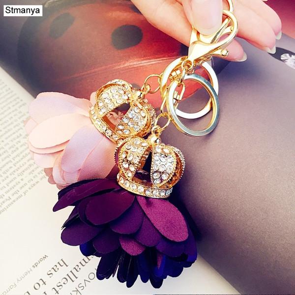 Neue Strass Crown Blütenblätter Anhänger Metall Schlüsselanhänger Damenmode Autoschlüssel Ring Bag Charms Zubehör Party Geschenk Schmuck K1609