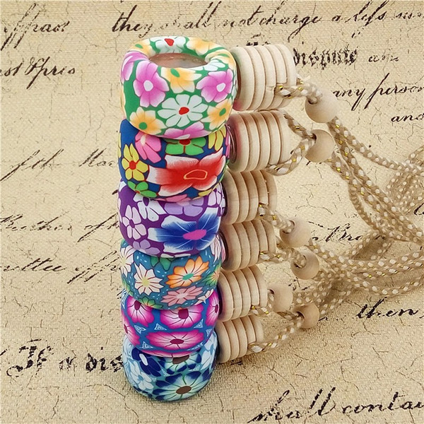 200pcs/lot 6ML Car Aroma essential oil bottle pendant glass+polymer clay reuse Empty perfume bottle