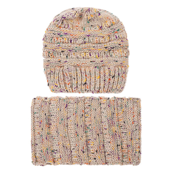 2018 New 2PCS Set Fashion Women Keep Warm Winter Wool Knitted Cap Neck Warmers Scarf Hat Se25