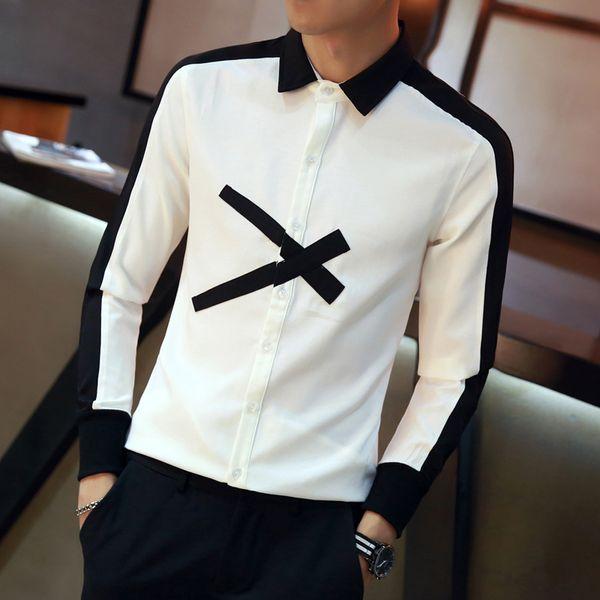 2018 Autumn Slim Fit Long Sleeve Social Shirts Dress Patchwork Color Scissor Pattern Casual Shirt Fashion Designer