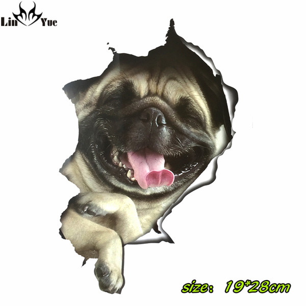 3D pug dog car Stickers For Laptop Decal Fridge Skateboard Kids Gift Kitchen Cute Home Decor Broken waterproof Cute Vinyl Decal