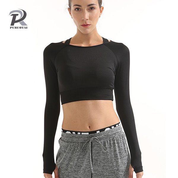 Women Gym Black Yoga Crop Tops Yoga Shirts Long Sleeve Workout Tops Fitness Running Sport T-Shirts Training Sportswear
