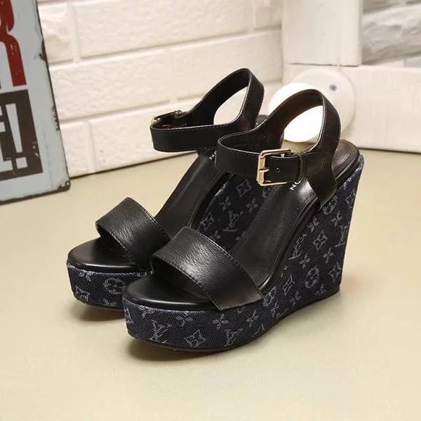 New Calfskin leather cloth platform sandals heel 7.5cm Women Casual Handmade Walking Tennis Sandals Slippers Mules Slides Thongs