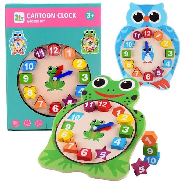 Pädagogisches hölzernes Uhrspielzeug des Karikaturtiers hölzernes Puzzlespielfroschform-Eulenform DIY 3D Uhr-Spielzeug