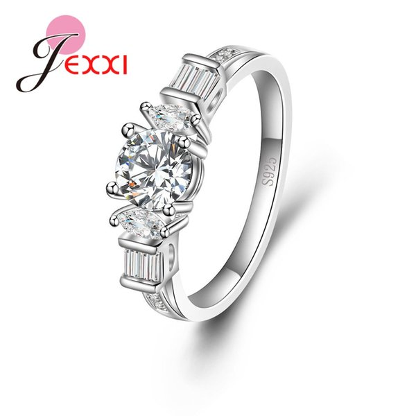 JEXXI Pure 925 Sterling Silver Rings Charming Crystals CZ Wedding Rings for Women Bridal Party Jewelry Bague Femme Anillos Mujer