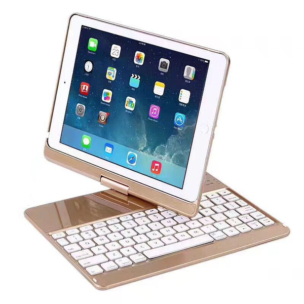 For iPad New 2017 9.7 360 Degree Rotation Wireless Bluetooth Keyboard Backlit Case Cover Keyboard for iPad Air 2 + Gift