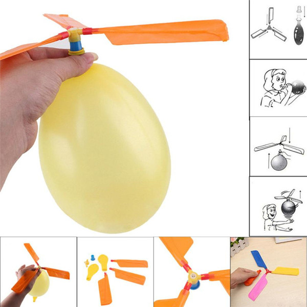 top popular wholesale - flying Balloon Helicopter DIY balloon airplane Toy children Toy self-combined Balloon Helicopter free shipping 2020