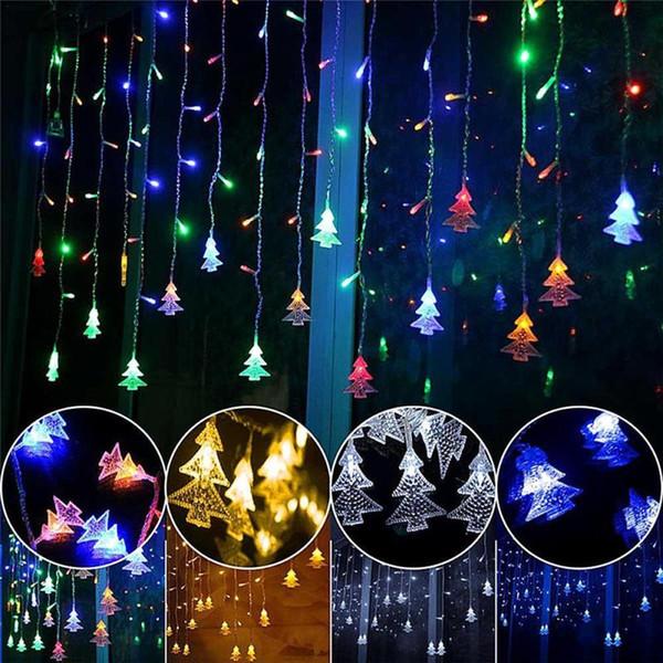 3.5 M 96 LED Perde Yılbaşı Ağacı Işıkları Icicle Dize Çakmak Yılbaşı Yeni Yıl Düğün Işık Parti Dekor AAA1442