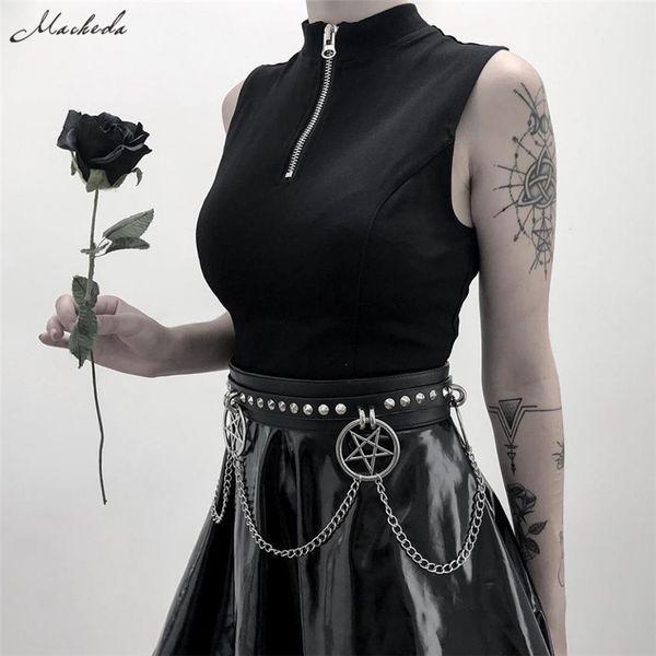 Macheda Women Fashion Slim Black Waistband Wide Elegant Star Chain Buckle Decoration Cummerbunds For Women Belts Accessories