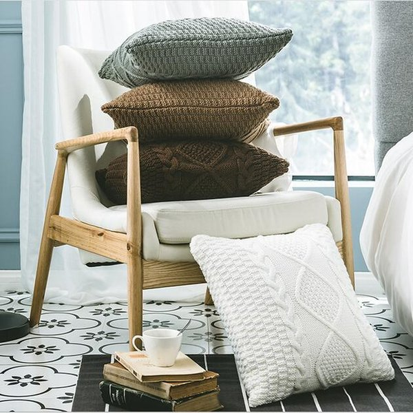 Knitted Cushion Cover Solid Color Acrylic Throw Pillow Case Home Decorative Pillowcase Seat Car Cushion Cover Geometric