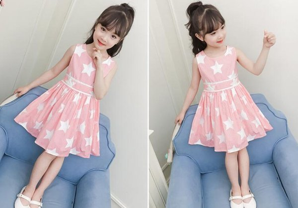 2018 new summer children girl dew shoulder five star pattern fashion dress,sleeveless princess dress