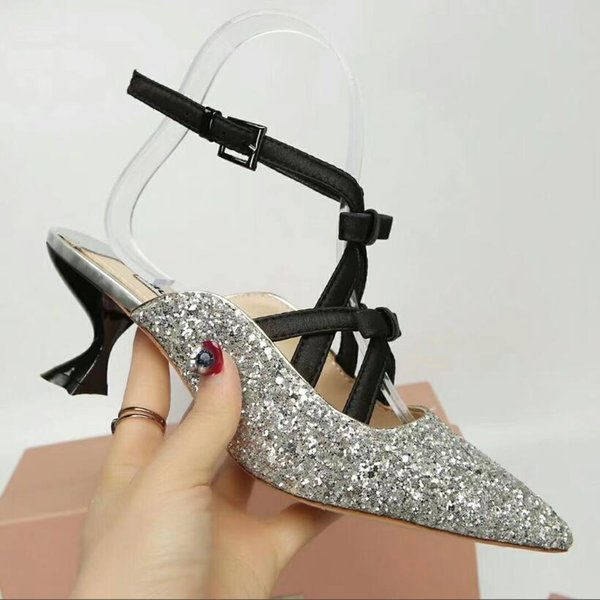 5 color Glitter Genuine Leather High Top sandals Fashion Bride Wedding Shoes Sexy kitten Heel Sandals Prom Brand Shoes Woman Summer Sandals