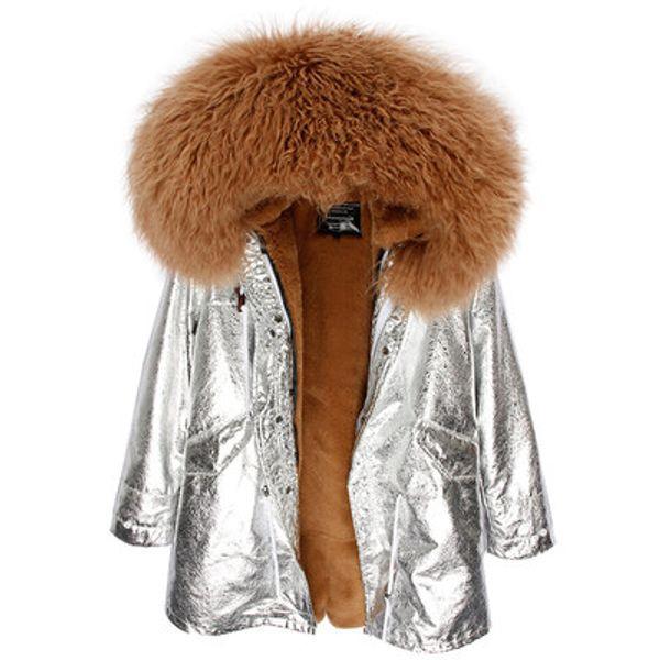2018 karamel Moğolistan koyun kürk hoody MAOMAOKONG Marka kadınlar kış kar palto karamel tavşan kürk kaplı gümüş uzun parka ABD almanya
