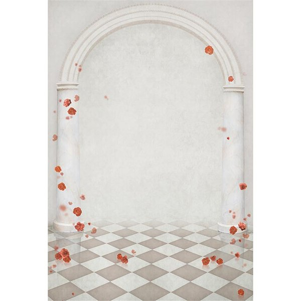 Fantasy Arch Background for Wedding Photography Printed Red Roses Stone Pillars Mist Princess Girl Party Photo Booth Backdrops