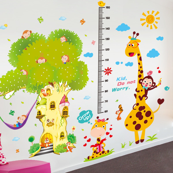 Home Decoration Posters Stickers [SHIJUEHEZI] Monkeys Giraffe Animals Height Wall Stickers DIY Jungle Tree Wall Decor for Kids Room Baby