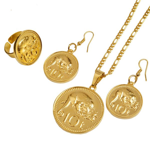 Gold Color PNG Coin Pendant/Necklaces/Ring/Earrings for Women,Papua New Guinea Jewellery Style Design #097906