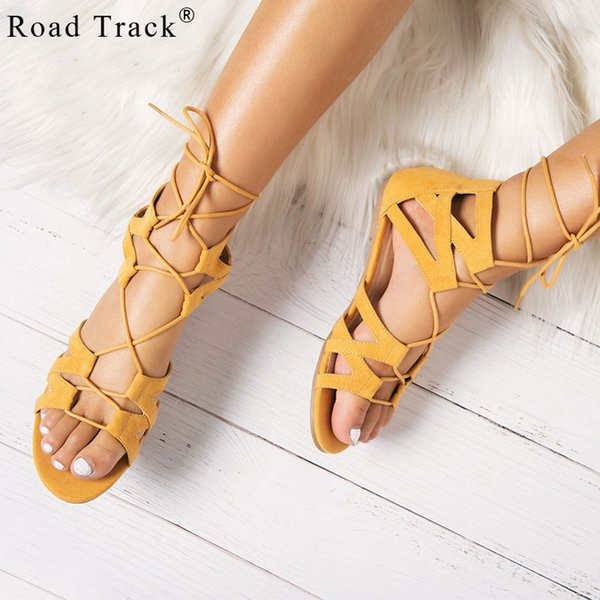 Road Track Women Lace-Up Rome Sandals Summer Flat Sandals Female Sandalias Cross-Tied Flat Shoes Sapato Feminino XWA2246-5
