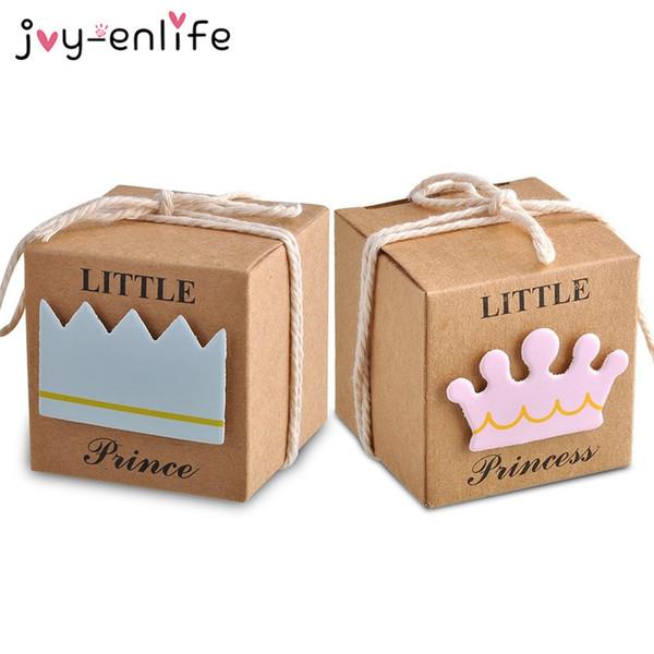 FREUDE-ENLIFE 96 stücke Baby Shower Candy Box Kleine Prinz / Prinzessin Crown Kraftpapier Geschenkbox Geburtstagsfeier Weihnachten Party Supplies