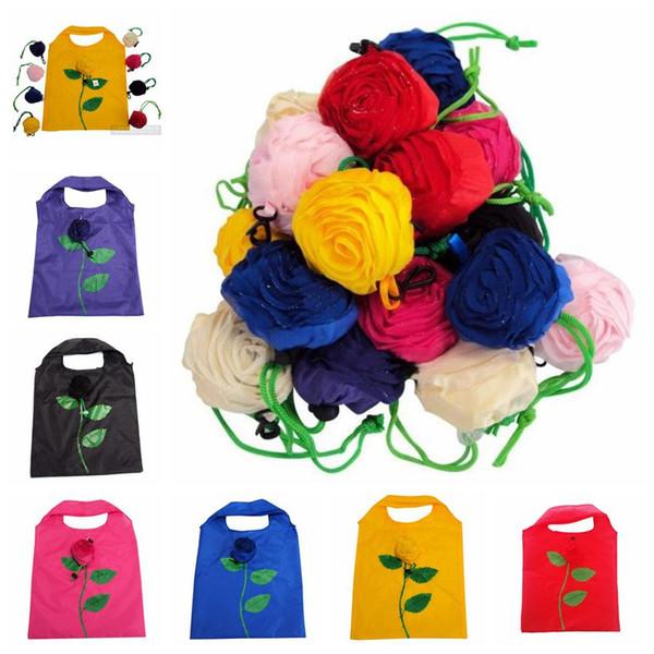 Multi-Colors Rose Flower Foldable Polyester Environmental Tote handbag Eco Reusable Outdoor Market Packing Shopping Bags 38cm*58cm
