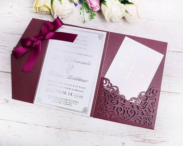 Compre 2019 Nuevo 3 Pliegues Tarjetas De Invitaciones De Borgoña De Boda Con Cintas De Borgoña Para Casarse Ducha Nupcial Compromiso Cumpleaños